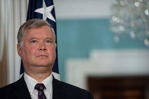 Biegun looks as US Secretary of State Mike Pompeo announces him as special representative to North Korea.