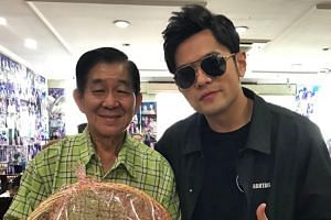 Jay Chou with Mr Chua Chwee Whatt, founder of the Founder Bah Kut Teh Cafeteria. It had been Mr Chua's 73rd birthday when Chou dropped in on Saturday.