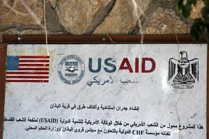 A USAID mural, to commemorate the building of supportive walls and road shoulders, in the village of al-Badhan, north of Nablus in the occupied West Bank, on Aug 25, 2018.