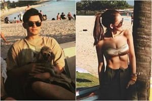 Mandopop king Jay Chou (left) and his wife - actress Hannah Quinlivan - posted photos of themselves at Sentosa.