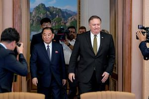 Two unnamed senior US administration officials said the letter Secretary of State Mike Pompeo (right) received last Friday came from Mr Kim Yong Chol, vice-chairman of North Korea's ruling Workers' Party Central Committee.