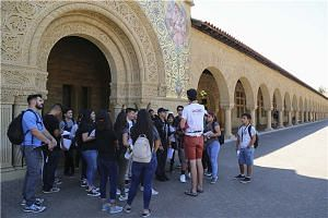 Chinese and international students visit Stanford University in August 2017.