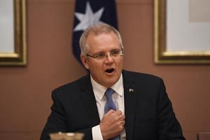 Australian Prime Minister Scott Morrison speaks during a cabinet meeting at Parliament House in Canberra on Aug 28, 2018.