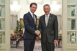 Prime Minister Lee Hsien Loong with Austrian Chancellor Sebastian Kurz at the Istana on Aug 30, 2018.