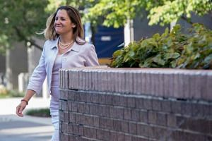 Canadian Foreign Affairs Minister Chrystia Freeland arrives for a meeting with US Trade Representative Robert Lighthizer in Washington, DC, on Aug 30, 2018.