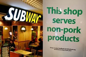 Singapore's Subway restaurants had started servicing only non-pork protein from March 21, 2018.