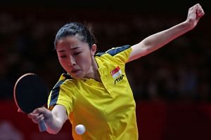 Singapore's Yu Mengyu in action against China's Wang Manyu in the table tennis women's singles semi-final at the 18th Asian Games in Jakarta, Indonesia, on Sept 1, 2018.