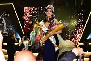 Miss Zahra Khanum, who beat 14 other young women at last night's grand finale, will represent Singapore at the Miss Universe pageant in Bangkok in December.
