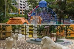 Playgrounds in Woodlands Central can be designed with bright and bold colours to reflect the 'urban' theme (top), while those in Woodlands East which has a 'community' theme can feature kampung-inspired play equipment.