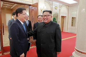 North Korean leader Kim Jong Un meeting South Korean envoy Chung Eui-yong in Pyongyang yesterday. The meeting was confirmed only after the delegation arrived in Pyongyang. Details of the meeting will be revealed only today.