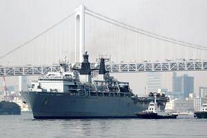 HMS Albion, the British Royal Navy flagship amphibious assault ship, at Harumi Pier in Tokyo, Japan, on Aug 3, 2018.