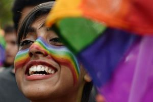 File photo showing an Indian supporter of the lesbian, gay, bisexual, transgender community taking part in a pride parade in Chennai.