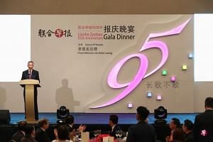 Prime Minister Lee Hsien Loong speaking at the Chinese daily Lianhe Zaobao's 95th anniversary gala dinner at Shangri-La Hotel, on Sept 6, 2018.