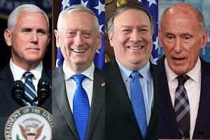 (From left) Vice-President Mike Pence, Defence Secretary James Mattis, Secretary of State Mike Pompeo and director of national intelligence Dan Coats have denied writing the anonymous op-ed.