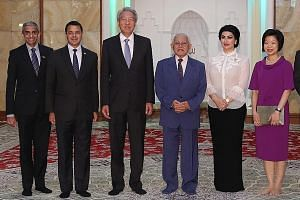 (From left) Singapore's High Commissioner to Malaysia Vanu Gopala Menon, Government Parliamentary Committee for Home Affairs and Law chairman Christopher De Souza, Deputy Prime Minister and Coordinating Minister for National Security Teo Chee Hean, S