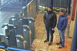 A surveillance video shows Russian suspects Ruslan Boshirov and Alexander Petrov at a train station in Salisbury, England.