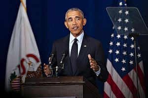 Mr Barack Obama denounced President Donald Trump's actions which he said undermine American progress, from the ban on travellers from certain Muslim countries to the failure to take action in recent school shootings. He also criticised Mr Trump's att