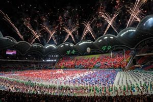 Participants perform in the Arirang Mass games celebrating the National Day and 70th anniversary of its Foundation in Pyongyang, on Sept 9, 2018.