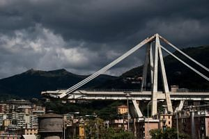 The collapsed Morandi motorway bridge in Genoa, on Sept 2, 2018.
