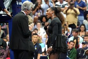 Serena Williams argues with referee Brian Earley during her women's singles finals match at the 2018 US Open at the USTA Billie Jean King National Tennis Center in New York, on Sept 8, 2018.
