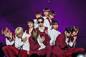 South Korean boyband Wanna One performing at the HallyuPopFest music festival in Singapore over the weekend. The line-up at the music festival also included South Korean singer Taeyeon (far left) and singer-host Eric Nam (left).