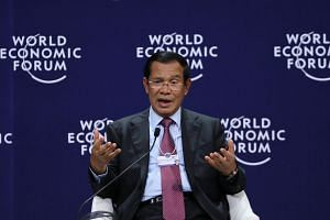 In a speech alongside other regional leaders, Cambodian Prime Minister Hun Sen pointed to the international condemnation of his country's recent election, which was seen by many as a farce after the main opposition party was dissolved.