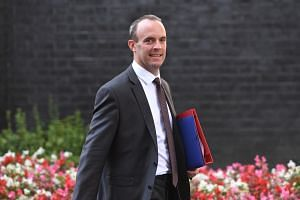 Britain's Brexit minister Dominic Raab leaves after a Brexit Cabinet meeting at Downing Street in London on Sept 13, 2018.