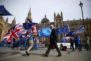 Anti-Brexit demonstrators wave flags outside the Houses of Parliament, in London.