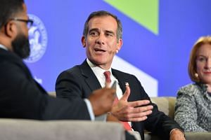 Los Angeles Mayor Eric Garcetti speaking during a panel discussion at the C40 Cities For Climate The Future Is Us kickoff event, on Sept 12, 2018.