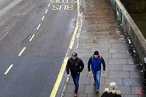 The two suspects in the poisoning of former Russian spy Sergei Skripal are seen in CCTV footage.
