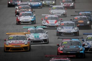 Drivers in action during the Porsche Carrera Cup Asia ahead of the Formula 1 2018 Singapore Airlines Grand Prix at the Marina Bay Street Circuit on Sept 16, 2018. The Singapore Grand Prix has attracted an attendance of over 263,000 over the three-day