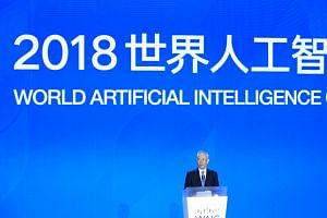 Chinese Vice Premier Liu He speaks at the opening ceremony of the World Artificial Intelligence Conference in Shanghai, on Sept 17, 2018.