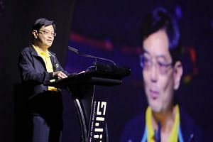 Minister for Finance and Chairman of the National Research Foundation Heng Swee Keat speaking at the opening of the Singapore Week of Innovation and Technology on Sept 17, 2018.