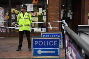 A police officer on duty in a cordoned off area in Salisbury, southern England, on March 10, 2018.
