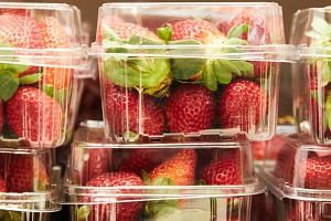 Strawberry punnets are seen at a supermarket in Sydney, on Sept 13, 2018.