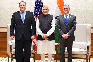 From left: US Secretary of State Mike Pompeo, Indian Prime Minister Narendra Modi and US Secretary of Defence Jim Mattis in New Delhi on Sept 6, 2018.