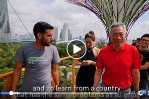 The video featured a guest appearance by Prime Minister Lee Hsien Loong, who is filmed walking alongside Mr Nuseir Yassin (left) at the Gardens by the Bay.