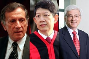 While Senior Counsels such as the late Joseph Grimberg (from left), Justice Woo Bih Li and Wong Meng Meng have inspired generations of lawyers with their advocacy skills, Mr Nicholas Poon argues that lawyers are now taking longer to land a lead couns