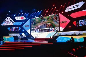 Teams from China and Korea competing in a League of Legends game during an eSports demonstration event at the 18th Asian Games in Jakarta, Indonesia, on Aug 29, 2018.