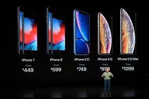 Philip Schiller, Apple's senior vice president for marketing, showing off the new iPhone XS and iPhoneXS Max in Cupertino, California.