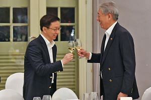 Vice-Premier Han Zheng was hosted to a welcome dinner by Deputy Prime Minister Teo Chee Hean at the Asian Civilisations Museum last night. Mr Han is here to attend the Joint Council for Bilateral Cooperation meeting between China and Singapore for th