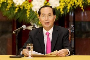 Vietnamese President Tran Dai Quang speaks during a press conference at the Presidential Palace in Hanoi, Vietnam, on March 23, 2018.