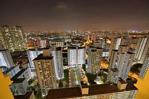 File photo showing a view of high-rise HDB flats in Toa Payoh taken at night.