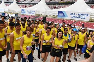 The contingent from KLA-Tencor, an American semi-conductor systems firm, was the largest entry from a corporate partner in The Straits Times Run's six-year history.
