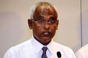 Maldivian opposition leader Ibrahim Mohamed Solih speaks to the media at the end of the presidential election day in Male, on Sept 23, 2018.