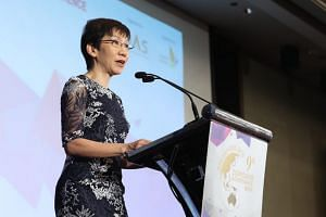 Minister for Culture, Community and Youth Grace Fu launched the Visibility Guide during the 2018 Charity Governance Conference at Mandarin Orchard Singapore, on Sept 27, 2018.