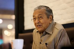Malaysian Prime Minister Mahathir Mohamad at an interview with The Straits Times at The Loaf bakery-cafe in Cyberjaya on March 21, 2018.