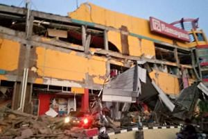 A collapsed shopping mall in Palu, Central Sulawesi, Indonesia, after a strong earthquake hit the area on Sept 28, 2018.