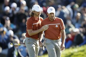 Team Europe's Tommy Fleetwood and Francesco Molinari during the Foursomes.