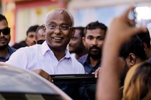 Maldivian opposition leader Ibrahim Mohamed Solih arriving at an event with supporters in Male, Maldives, on Sept 24, 2018. Mr Solih's Maldivian Democratic Party had won by a 16.8 percentage point margin.